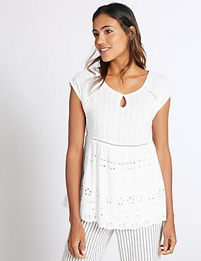 Pure Cotton Short Sleeve Shell Top, SOFT WHITE, catlanding
