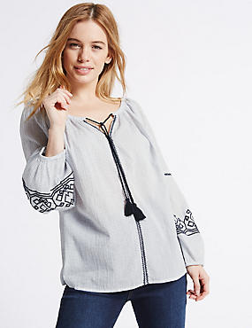 PETITE Pure Cotton Embroidered Blouse, NAVY MIX, catlanding