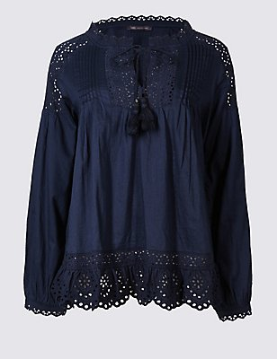 Pure Cotton Cutwork Peasant V-Neck Blouse, , catlanding