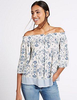 Floral Print Half Sleeve Bardot Top, BLUE MIX, catlanding