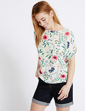 PETITE Floral Print Short Sleeve Shell Top, IVORY MIX, catlanding
