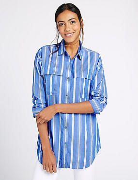 Pure Cotton Striped Long Sleeve Shirt, BLUE MIX, catlanding