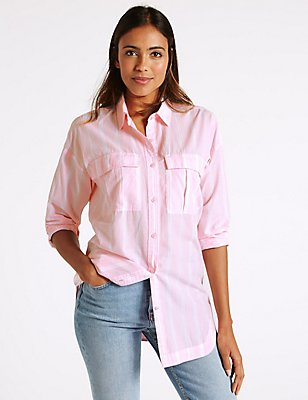 Pure Cotton Striped Long Sleeve Shirt, PINK MIX, catlanding