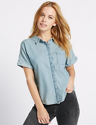 PETITE Pure Cotton Short Sleeve Shirt, DENIM, catlanding