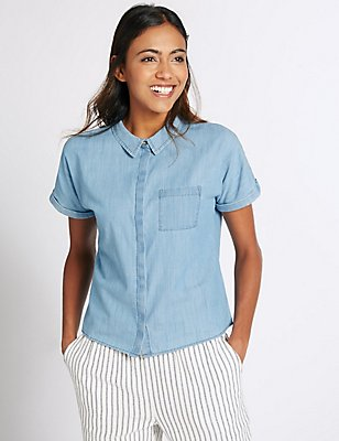 Pure Cotton Short Sleeve Shirt, DENIM, catlanding