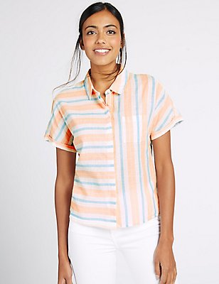 Cotton Rich Striped Short Sleeve Shirt, PEACH MIX, catlanding