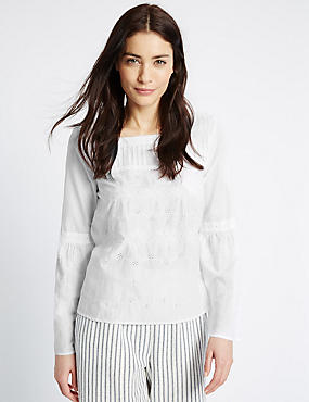 Pure Cotton Embroidered Flute Sleeve Blouse, SOFT WHITE, catlanding