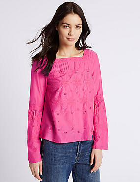 Pure Cotton Fluted Sleeve Blouse, PINK, catlanding