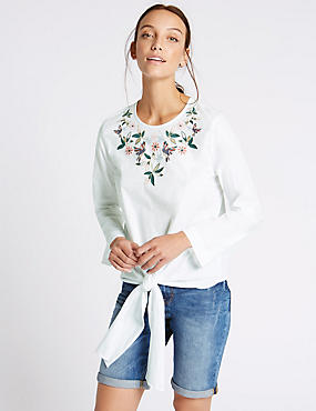 Pure Cotton Embroidered Tie Front Shell Top, SOFT WHITE, catlanding