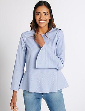 Cotton Blend Striped Button Shoulder Blouse, NAVY MIX, catlanding