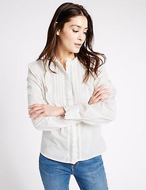 Pure Cotton Vintage Long Sleeve Blouse, IVORY, catlanding