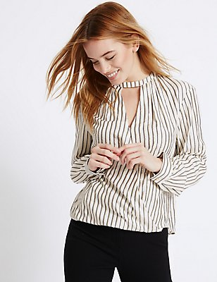PETITE Metallic Stripe Wrap Shell Top, IVORY MIX, catlanding