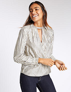 Striped Notch Neck Long Sleeve Blouse, IVORY MIX, catlanding