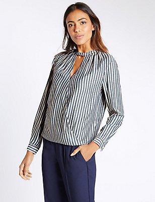 Striped Notch Neck Long Sleeve Blouse, BLUE MIX, catlanding