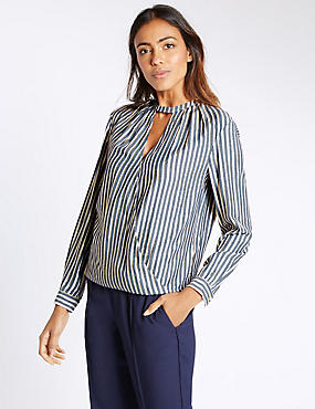 Striped Notch Neck Long Sleeve Blouse, BLUE MIX, catlanding