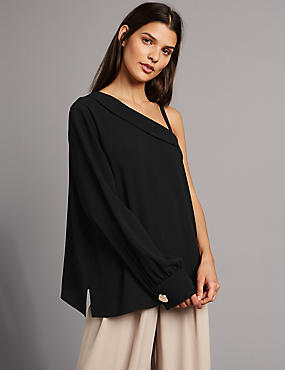One Shoulder Frill Neck Long Sleeve Blouse, BLACK, catlanding