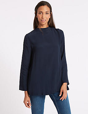 Pleated Back Long Sleeve Shell Top, NAVY MIX, catlanding