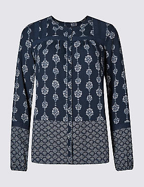Tailored Fit Blouse with Buttonsafe™, NAVY MIX, catlanding