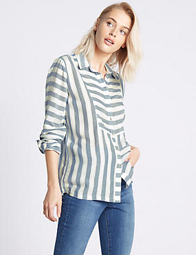 Modal Blend Striped Long Sleeve Shirt, CHAMBRAY MIX, catlanding