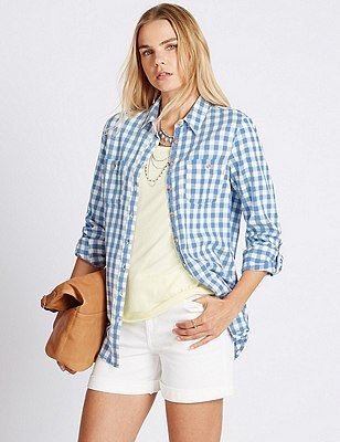 Pure Cotton Checked Shirt, MULTI, catlanding