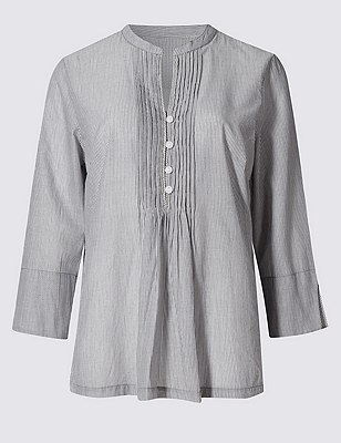 Pure Cotton Loose Fit Striped Shirt with Buttonsafe™, GREY MIX, catlanding