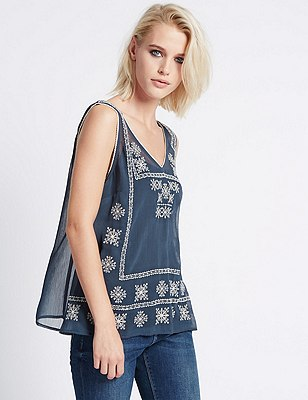 Loose Fit Embroidered Camisole Blouse, SLATE MIX, catlanding