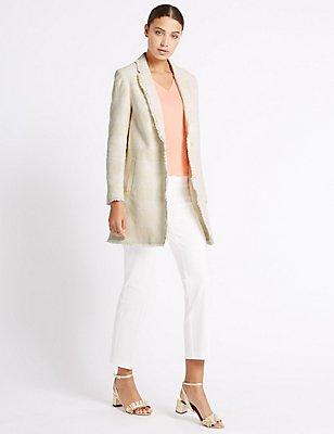 Cotton Rich Textured Fringe Jacket, IVORY, catlanding