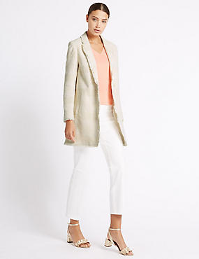 Cotton Rich Textured Fringe Jacket, IVORY, catlanding
