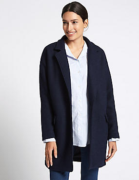 Wool Blend One Button Coat, INK, catlanding