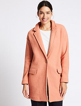 Wool Blend One Button Coat, SOFT ORANGE, catlanding