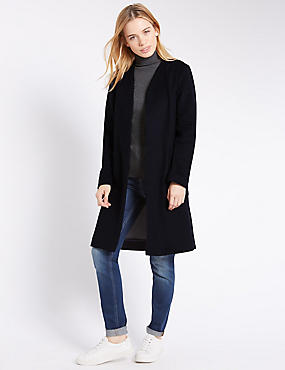 Plus Double Face Blanket Coat, NAVY MIX, catlanding