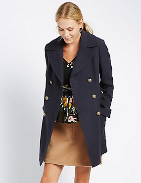 Wool Blend Smart Peacoat, NAVY, catlanding