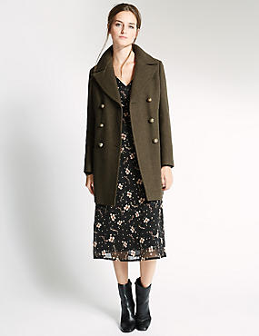 Wool Blend Smart Peacoat, OLIVE, catlanding