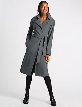 Wool Blend Double Face Trench Coat, , catlanding