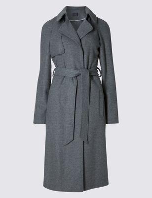 Пальто-тренч с добавлением шерсти M&S Collection T490917