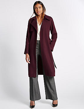 Wool Blend Double Face Trench Coat, DARK AUBERGINE, catlanding