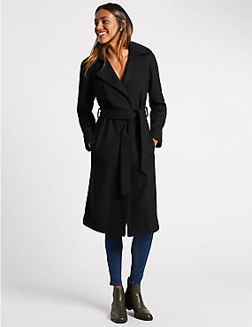 Wool Blend Double Face Trench Coat, BLACK, catlanding