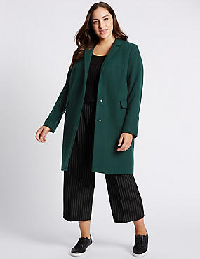 PLUS Collared Neck Peacoat, EMERALD, catlanding