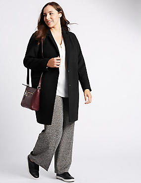 PLUS Collared Neck Peacoat, BLACK, catlanding