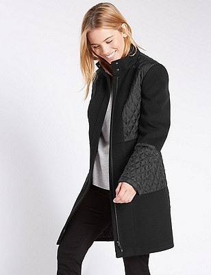 PETITE Long Sleeve Padded Coat  , BLACK, catlanding