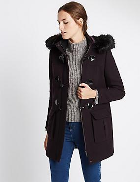 Duffle-coat élégant à capuche , AUBERGINE, catlanding