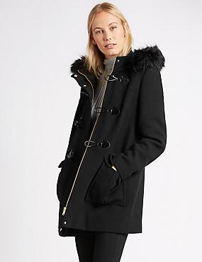 Duffle-coat élégant à capuche , NOIR, catlanding