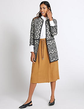 Cotton Rich Edge To Edge Coat, BLACK MIX, catlanding