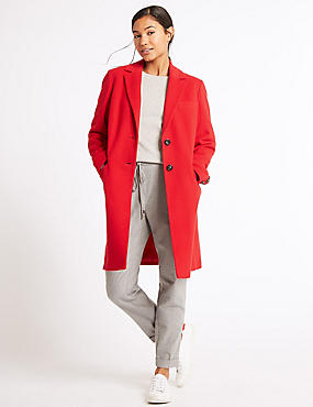 2 Pocket Wool Rich Coat, RED, catlanding