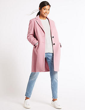 2 Pocket Wool Rich Coat, SOFT PINK, catlanding