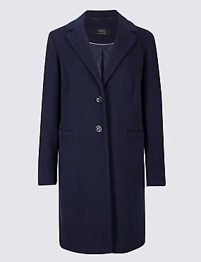 2 Pocket Wool Rich Coat, NAVY, catlanding