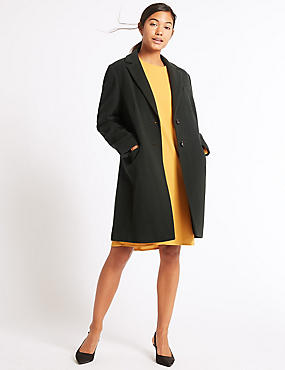 2 Pocket Wool Rich Coat, FOREST GREEN, catlanding