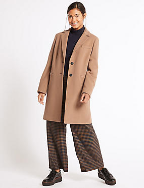 2 Pocket Wool Rich Coat, CAMEL, catlanding