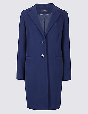 2 Pocket Wool Rich Coat, ROYAL BLUE, catlanding