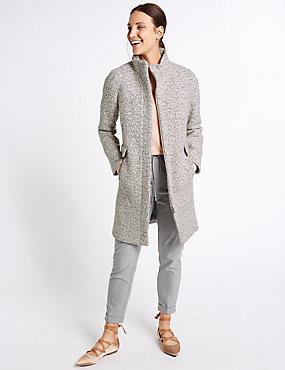 Wool Blend Textured Coat, GREY MIX, catlanding